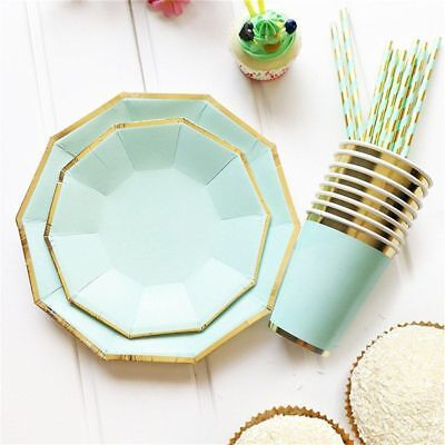 Plates And Cups Disposable Gold 49 pcs Set Paper Straws Wedding Party Cutlery](Party Plates And Cups)