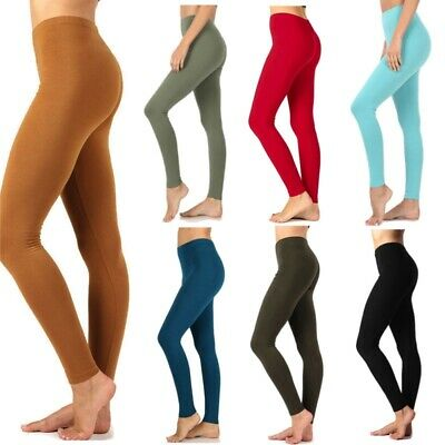 Womens Long Leggings Full Ankle Length Basic Cotton Span Stretch Pants High Rise
