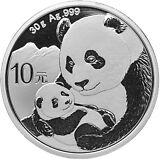 2019 China 30 g Silver Panda ¥10 Coin GEM BU SKU55881