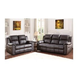 BRAND NEW CADERA HIGH QUALITY BONDED LEATHER 3 AND 2 SEATER MANUAL RECLINER IN BLACK BROWN COLOUR