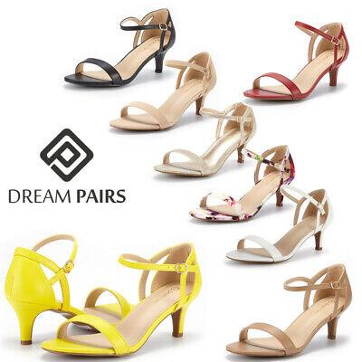 DREAM PAIRS Women's Low Stilettos Heel Sandals Ankle Strap W