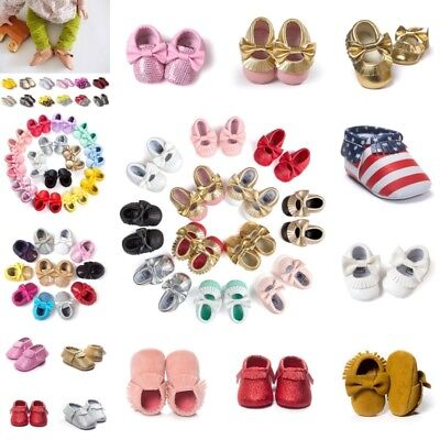 US Toddler Infant Baby Boy Girl Moccasin Leather Shoes Kids