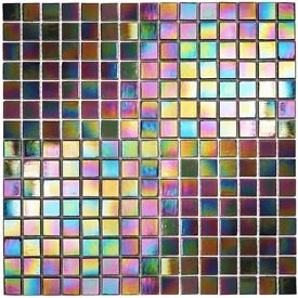 Luxury Glass Mosaic Tiles - Petrol Black iridescent (7 sheets)