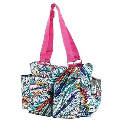 Multicolor Paisley Print Small Zippered Caddy Organizer Tote Bag Shower Diaper