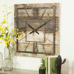 Rustic Wall Clock Kitchen Living Room Modern Farmhouse Square Country Wood Decor