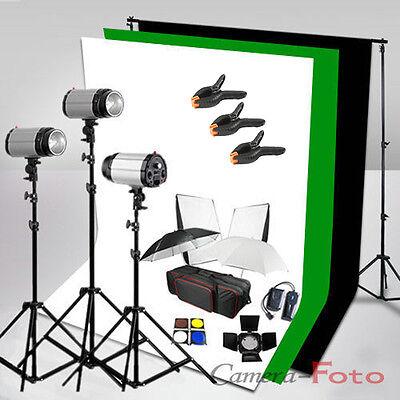 3x300W Photo Studio Flash Lighting Kit Set 3 Backdrop + Background Stand 900W UK