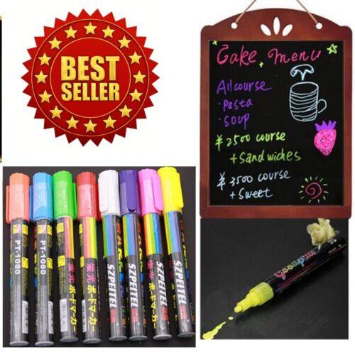 8 pcs Highlighter Fluorescent Liquid Chalk Marker Pen for LED Writing Board 6mm
