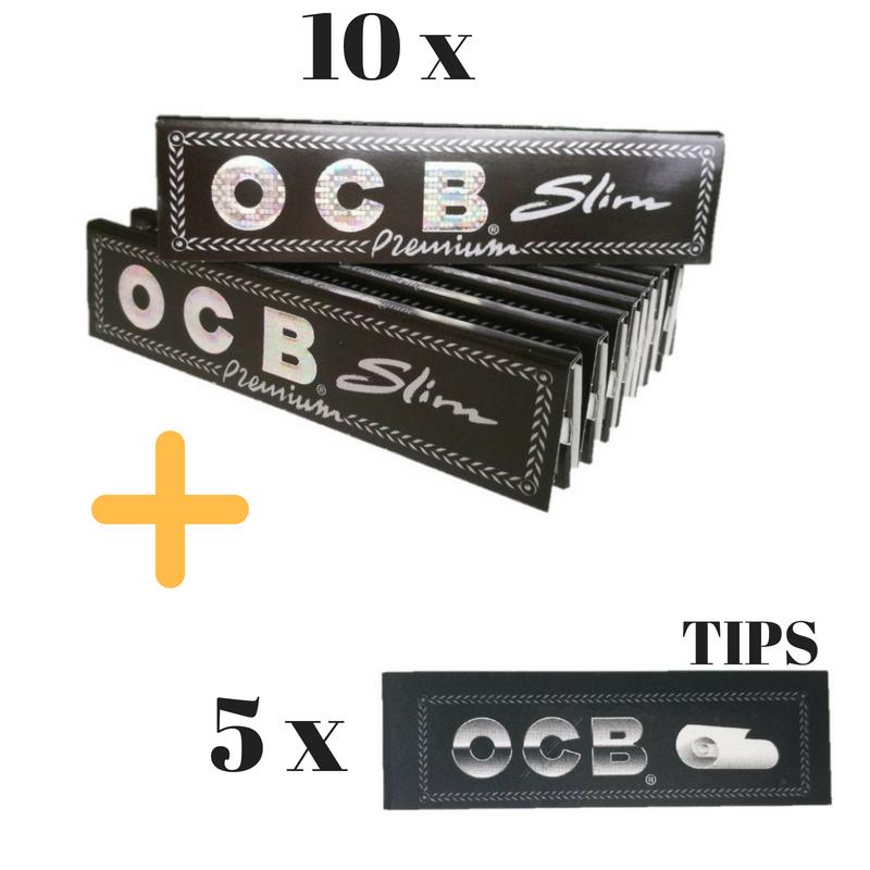 10 x 32 OCB Premium Slim Zigarettenpapier Long Papers Blättchen 5 Filter Tips