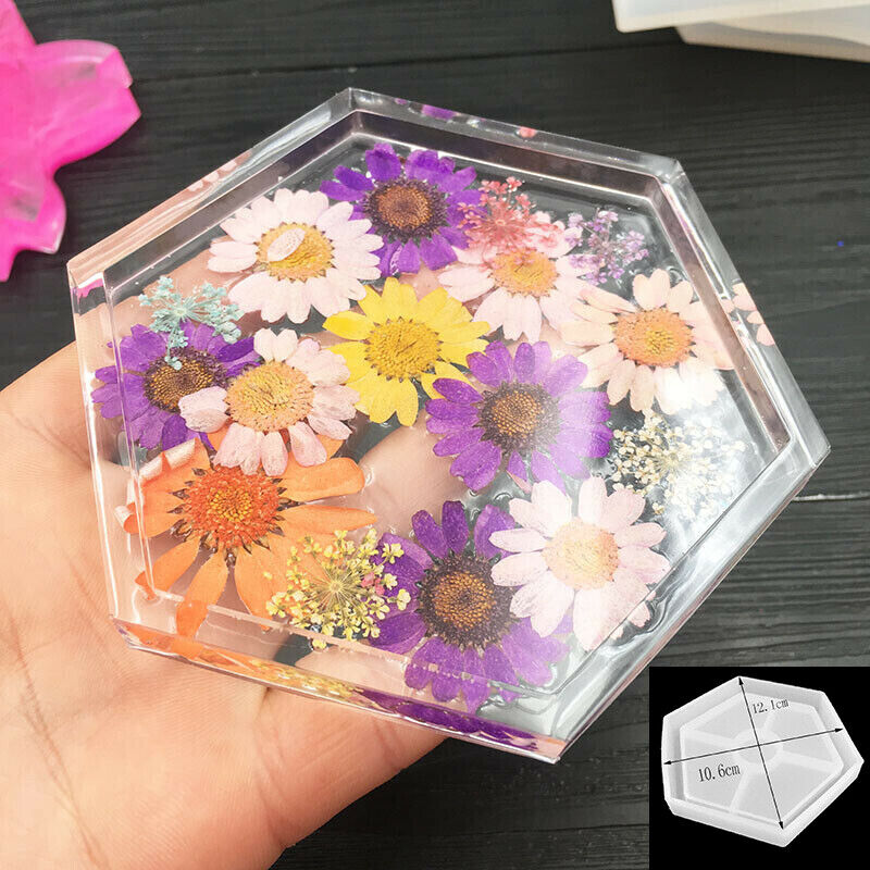DIY US Hexagon Silicone Mold Coaster Making Dried Flower Soa