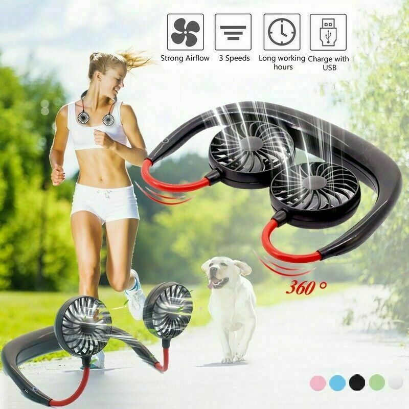 Portable Hanging Neck Sport Fan Lazy Neckband USB Rechargeable Personal Mini Fan Heating, Cooling & Air