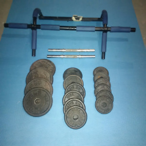Cast iron weights and pull up/push up bar