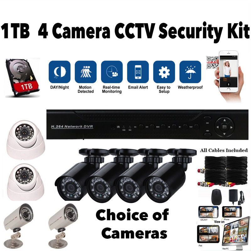 4 Camera CCTV Security Camera System Full Kit. 1TB DVR, 4 cameras, cables, Mobile Phone Viewing, NEW
