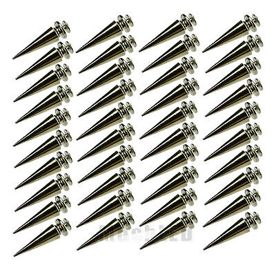 40x Silver Spots Cone Screw Metal Studs Leathercraft Rivet Bullet Spikes For Bag