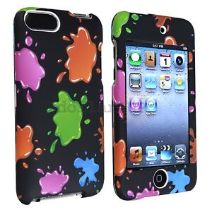 For iPod Touch 3rd 2nd Gen Colourful Blobs Rubber Case Cover Shell