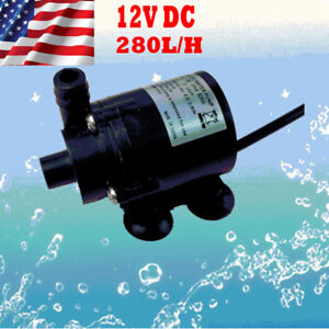 Black 12V DC Brushless Small Water Pump Submersible Motor Pump 280L/H Female Plu