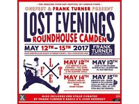 x2 Frank Turner tickets @ Roundhouse Camden. Saturday 13th May