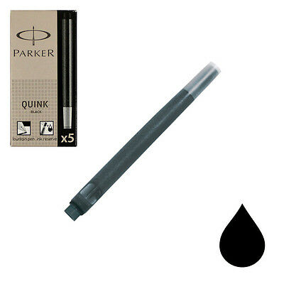 Box of 5 Parker Fountain Pen Ink Cartridges, Permanent Black