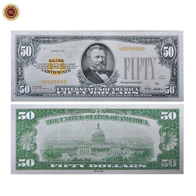 Wr 1928 Silver Certificate Us  50 Fifty Dollar Colored Silver Foil Banknote Rare
