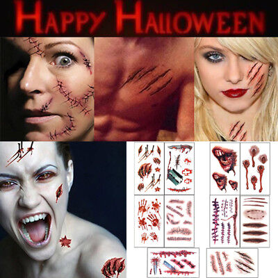 Halloween Stich Kostüm (Gefälschte Halloween Tattoo Cut Blutspinne Stiche Zombie Narbe Kostüm 10pcs)
