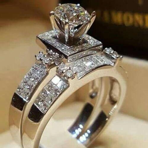 2pcs/set 925 Silver White Topaz Couple Ring Women Men Weddin