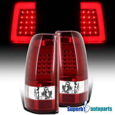 For 1999-2002 Chevy Silverado LED Bar Tail Brake Lights Lamps Red Left+Right