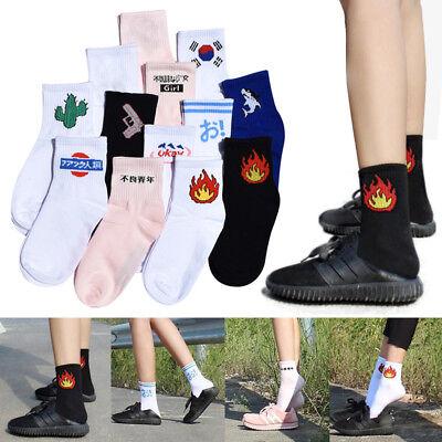 Trendy Women Men Funny Cotton Socks Harajuku Fire Print Unisex Short Socks New