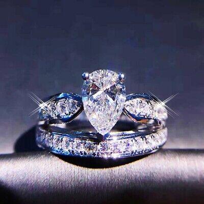Ladies Hot Wedding Pear Cut Lab Diamond 18K White Gold Filled Split Double Ring