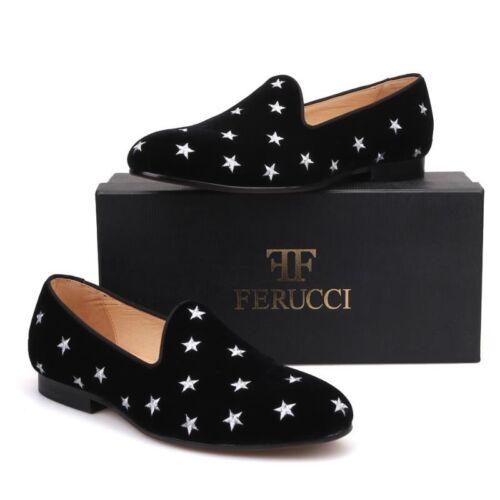 Handmade FERUCCI Men Black Velvet Slippers loafers with  Emb