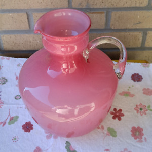 Pink Glass Vase/Jug with spout + clear handle, poss. blown glass