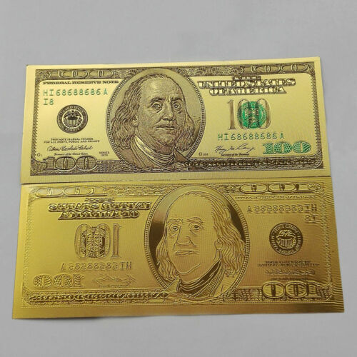 10pcs US$100 dollar 24k Gold Foil Golden USD Paper Money Banknotes Crafts EC
