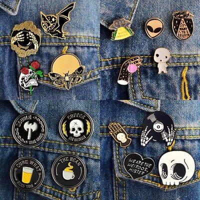 Death Badge Set Creep Ghost Skeleton Skull Goth Witch Enamel Brooch Lapel Pins (Ghost Death)
