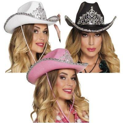 Damen Cowboy Hut mit Strass Diadem - weiß, schwarz, rosa/pink  - JGA Kostüm