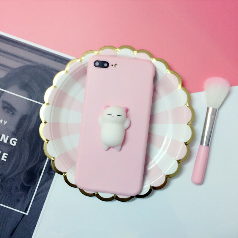 Squishy 3D Anti Stress Lazy Kitty Cat Soft Phone Case Cover For Samsung & Apple