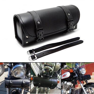 PU Leather Tool Bag Handlebar Sissy Bar Saddlebag Front Fork for Harley Suzuki for sale  USA