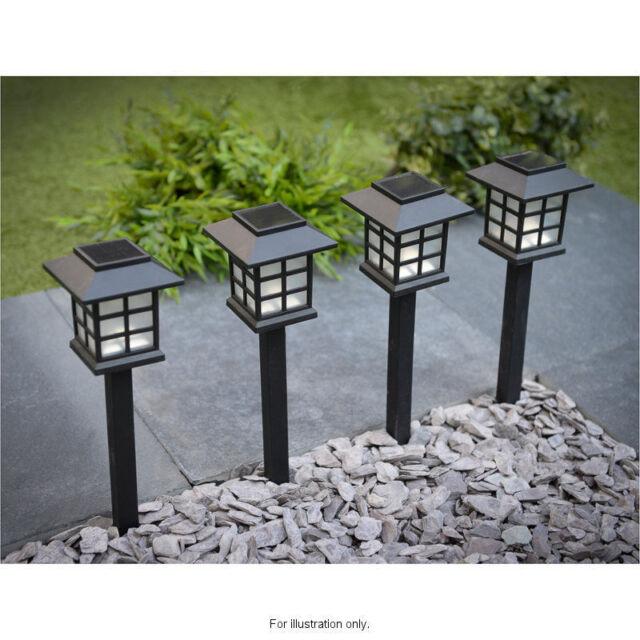 6x Garden Post Solar Power Carriage Light LED Outdoor Lighting Black Ornament