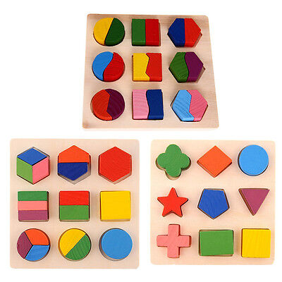 Kids Children Baby Wooden Learning Geometry Educational Toys Puzzle Montessori