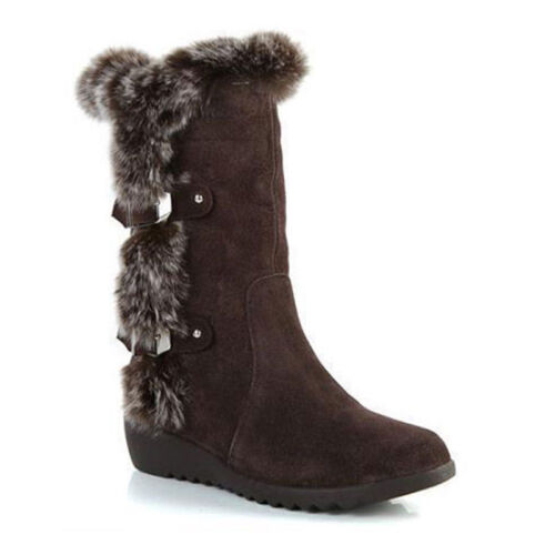 Women's Warm Fur Lined Snow Boots Pull On Side Winter Mid Calf Flat Casual Shoes