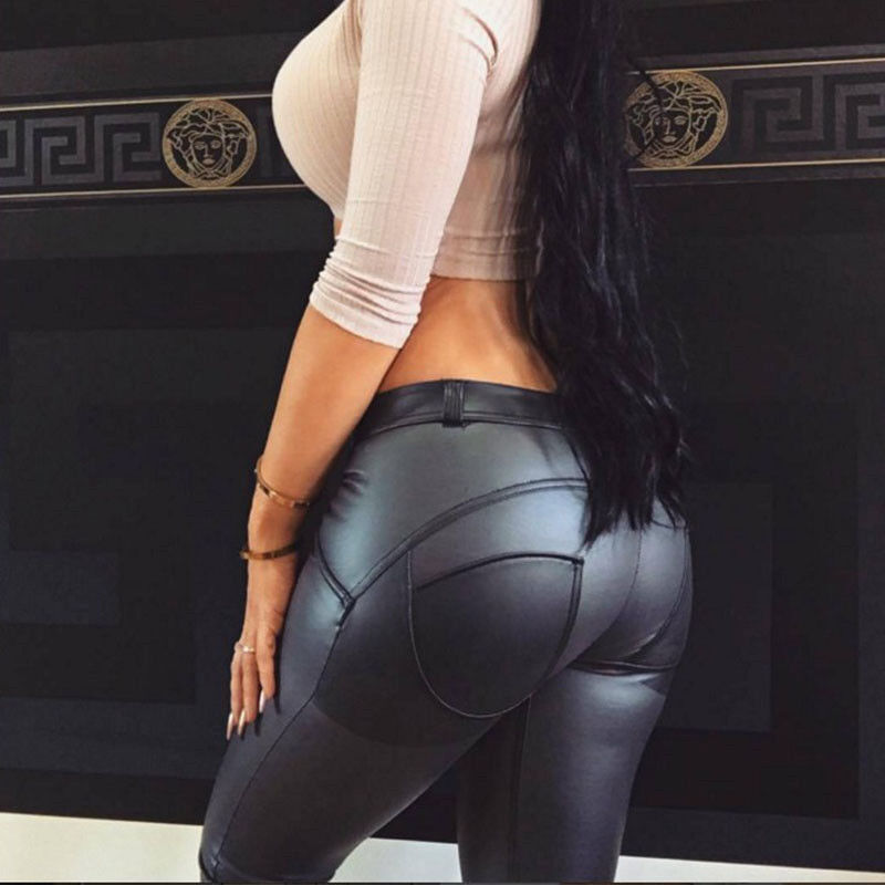 Women Sexy PU Leather Yoga Pants Hip Push Up Workout Stretch Leggings Trousers 51