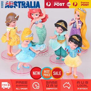 6 Princess Cinderella Mermaid Rapunzel Snow White Cake Topper Fairy Figurine AU