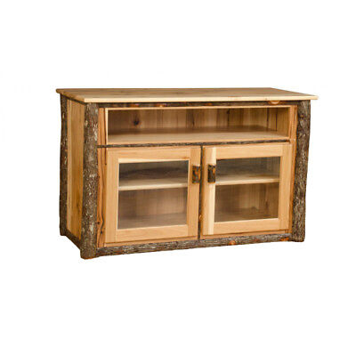 Rustic Hickory and Oak TV Stand with Glass Front Doors - Amish Made in USA Amish Glass Tv Stand