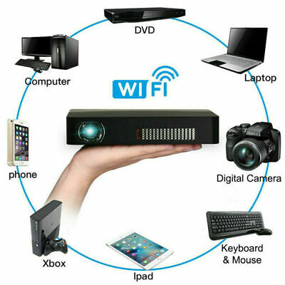 8500 Lumens DLP Projector HD 1080P 4K 3D Wifi Home Cinema DVD HDMI For Android