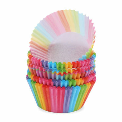 100pcs Muffin Cupcake Wrappers Paper Cases Liners Cups Rainbow Color