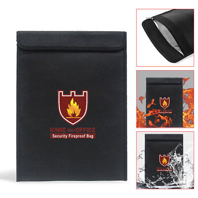 Fireproof Money Document Bag Water Resistant Cash Envelope Holder Protect Pouch
