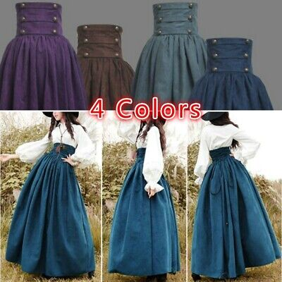Females Halloween Costumes (Women Medieval Vintage Skirt Lace Up Dress Halloween Costume)