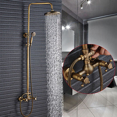 """Exposed Antique Brass 8"""" Rain Shower Faucet Set W/Hand Shower Tap Wall Mounted"""