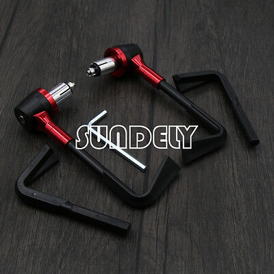 """Motorbike Red CNC Handlebar Protector 7/8"""" Brake Clutch Protect Lever Guard"""