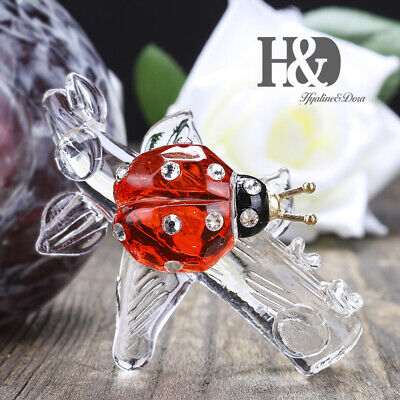 Crystal Red Ladybug Animal Figurines Statue Collection Handmade Paperweight Gift