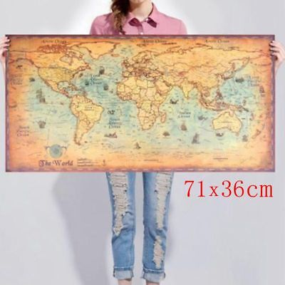- Nautical Ocean World Map large Vintage Style Retro Old Paper Poster Home Decor