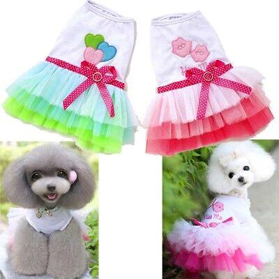 Pet Clothes Puppy Tutu Dress Lace Bow Skirt Dog Cat Princess Vest Fancy Apparel - Puppy Fancy Dress