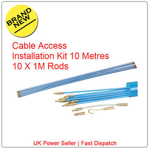 10M Cable Access Kit 1M X 10  Electricians Puller Rods Wires Draw Push Pulling